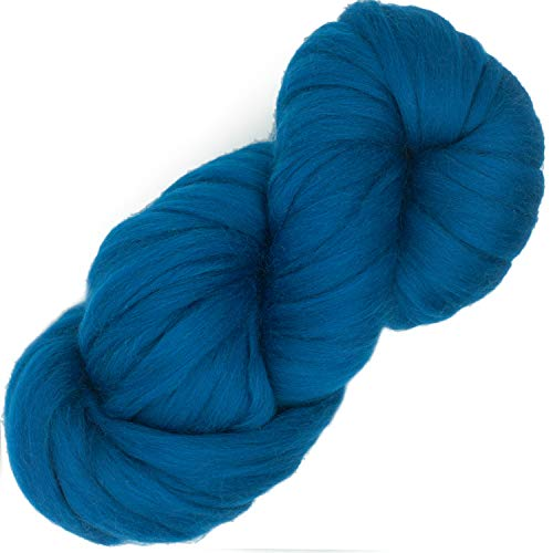 Living Dreams Air Merino Super Bulky Chunky Wool Yarn. Thick Pencil Roving Yarn for Needle Knitting and Crochet. Made in USA, Petrol