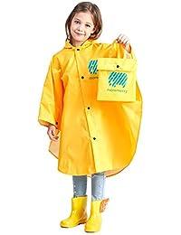 Hibety Kids Raincoat Kids Rain Poncho Lightweight Waterproof Rain Jacket Coat with Hooded for Girls Boys,Portable Poncho rain Coats(Yellow01, L)