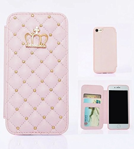 for Samsung Galaxy S8 Plus, WwWSuppliers Crown Diamond PU Quilted Leather Bling Wallet Flip Case Fancy Thin Protector Luxury Cover ~ Estuche Billetera ...