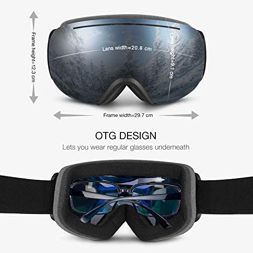 for Men Snowboarding and Snowmobiling Suitable for Skiing VLT 18.5/%,//28/% Terra Hiker Detachable OTG Ski Goggles Women and Youth Windproof Anti-fog Skiing Goggles with UV Protection