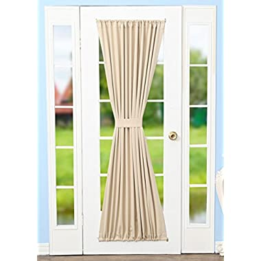 RHF Blackout French Door Curtains - Door Panel 54W by 72L Inches-Beige