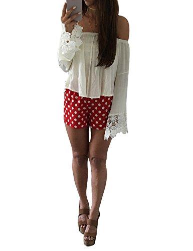 ZEARO Sexy Damen T-Shirt Bluse Tops Schulterfrei Spitze Oberteile Shirt