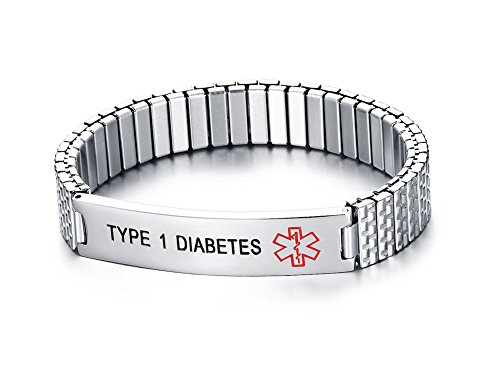 TYPE 1 DIABETES- Unisex Stainless Steel Medical Alert ID Tag Stretch Wristband Bracelet/Deep Black engrave by Mealguet Jewelry