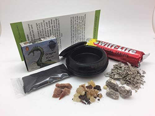 Incense Burner Sampler Kit includes Wooden Brass Burner, Charcoal, White Sage Leaves, Frankincense & Myrrh, Palo Santo, Amber Incense Resins, Dragons Blood Incense Cones, Sand