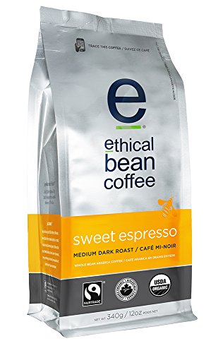 Ethical Bean Coffee Sweet Espresso, Medium Dark Roast, Whole Bean, 12-Ounce Bag