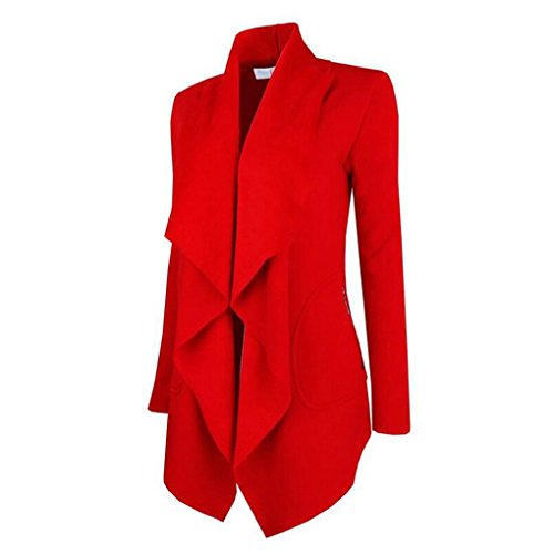 Gi¨´ Autunno Cappotto Cardigan Donne Giacche Medie Inverno Collare Spessa Maglia Rosso Lunghezza Fighting5 q08PanxwP