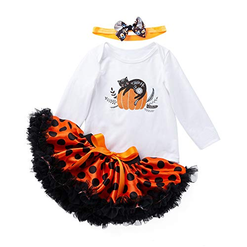Halloween Girl Outfits,Fineser 3Pcs Newborn Infant Baby Girls Pimpkin Cat Print Romper+Dot Tutu Skirt+Headbands Outfits Set (White, 18M(80)) ()