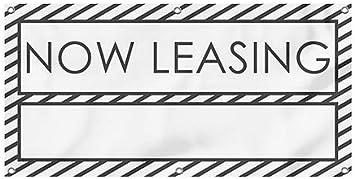 Now Leasing 8x4 Stripes White Heavy-Duty Outdoor Vinyl Banner CGSignLab