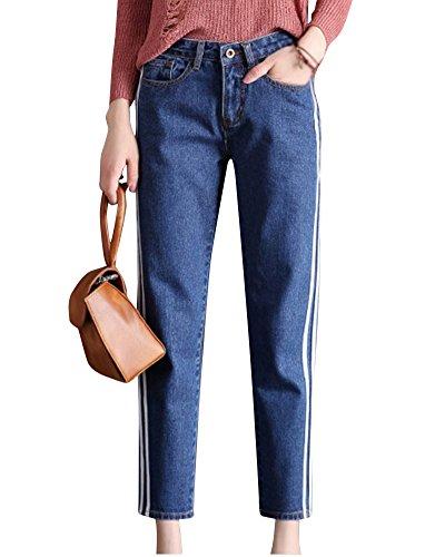 Mengmiao Mujer de los Deportes de la Longitud del Tobillo Vaqueros Baggy Alta de Cintura Pantalones Azul1