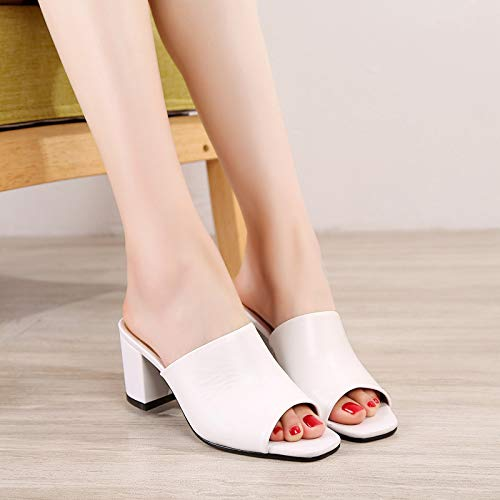 Summer Slippers And Fashion Leather White Wear Square KPHY Drag And Medium Cool Slippers Thirty Head Rough Four wOHXtxgq