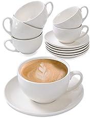 Filiżanki do cappuccino, zestaw 6 sztuk, ceramiczne, białe - ze spodkami, długo utrzymują ciepło, można myć w zmywarce - 180 ml