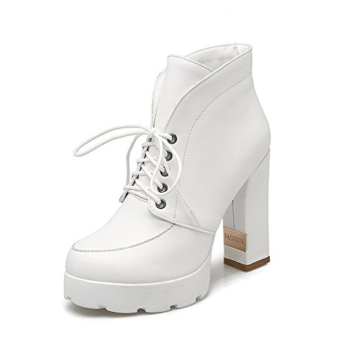 AllhqFashion Womens Soft Material Lace-up Round Closed Toe High-Heels Ankle-high Boots White AbPjz
