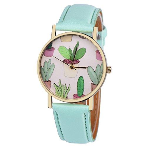 - Wensltd Women Classy Cactus Pattern Plant Leather Band Analog Quartz Vogue Wrist Watch (Green)