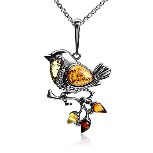 Multicolor Amber Sterling Silver Sparrow Bird Pendant Necklace Chain 18