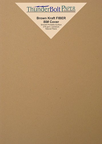 50 Brown Kraft Fiber 80# Cover Paper Sheets - 5'' X 7'' (5X7 Inches) Photo|Card|Frame Size - Rich Earthy Color with Natural Fibers - 80lb/pound Cardstock - Smooth Finish by ThunderBolt Paper