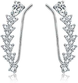 OSIANA Womens CZ Crystal Ear Wrap Cuffs Earrings Sweep Stud Earring Pin