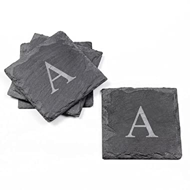 Cathy's Concepts Personalized Slate Coasters, Set of 4, Letter A