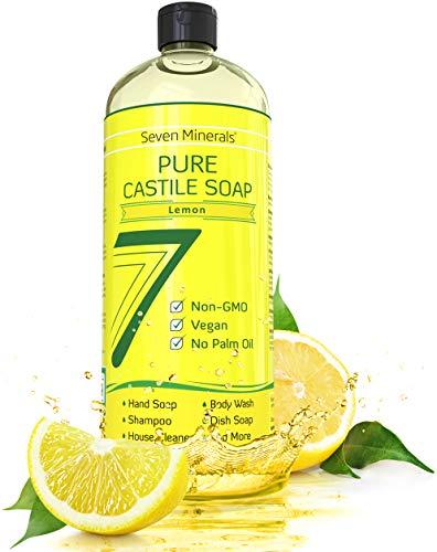 Seven Minerals Pure Castile Soap, Lemon - NO Palm Oil - MILD & GENTLE Liquid Soap For Sensitive Skin - All Natural, Non GMO & Vegan Formula with Organic Essential -