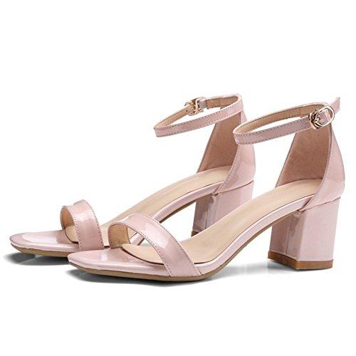 COOLCEPT Damen Mode Knochelriemchen Sandalen Blockabsatz Open Toe Schuhe Rosa