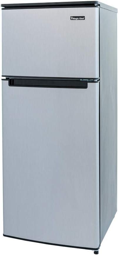 Amazon Com Magic Chef Hmdr450se Double Door Mini Refrigerator Stainless Look 4 5 Cu Ft Appliances