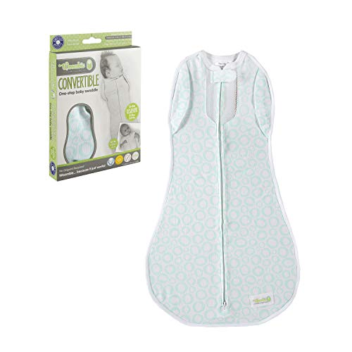 Image of the Woombie Convertible Nursery Swaddling Blanket - Swaddle Converts to Wearable Blanket for Babies Up to 3 Months - Vented (Mint O's, 5-13 lbs)