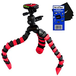 "12"" Flexible Wrapable Legs Tripod with Quick Release Plate and Bubble Level (Red/Black) for Nikon D3000, D3100, D3200, D3300, D5000, D5100, D5200, D5300, & D7000 Digital SLR Cameras w/ HeroFiber Ultra Gentle Cleaning Cloth"