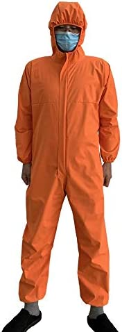 Reusable Hooded Waterproof Coverall Full Body Protective Work Suit with Zip Front Opening