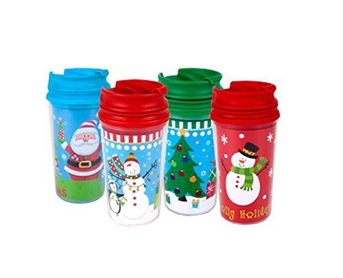 Childrens Kids Christmas Holiday Travel Mugs 11-oz Customizable 4-pack