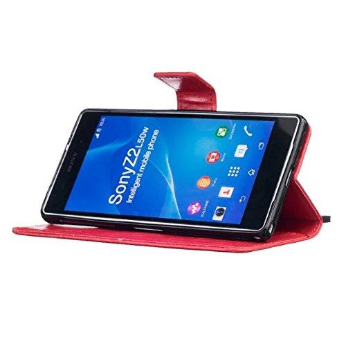 SRY-Funda simple Estuche Sony Z2, cubierta de la caja de cuero de la PU Premium de alta calidad cubierta de la caja del soporte de la cartera de diente de león en relieve resistente para Sony Z2 Conve Red