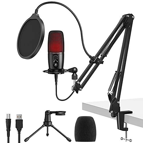 Micrófono de Condensador USB, OMOTON PC Micrófono con Brazo para Podcast, Estudio, Youtube Streaming et PS4 , Microfono Cardioide Ordenador con Chip de Sonido Profesional, Soporte, Montaje de Choque
