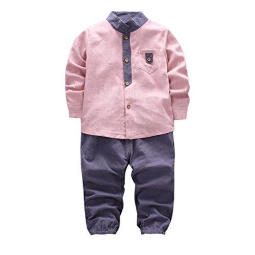 Omiky® 2pcs Kleinkind Baby Jungen scherzt Hemd Tops + Long Hosen Kleider Gentleman Outfits Set Rosa