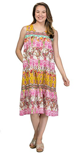 La Cera Cotton Sleeveless Muumuu Dress in Victorian Paisley (Pink/Yellow Print, Medium) (Sleeveless Muumuu)