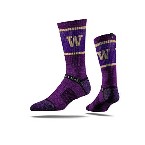Strideline NCAA Washington Huskies Premium Athletic Crew Socks, Purple, One Size