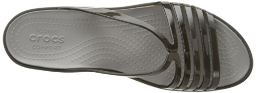 Crocs Women's Isabellaminwdg Sandals, Black Smoke, 10 M US Black (Black/Smoke)
