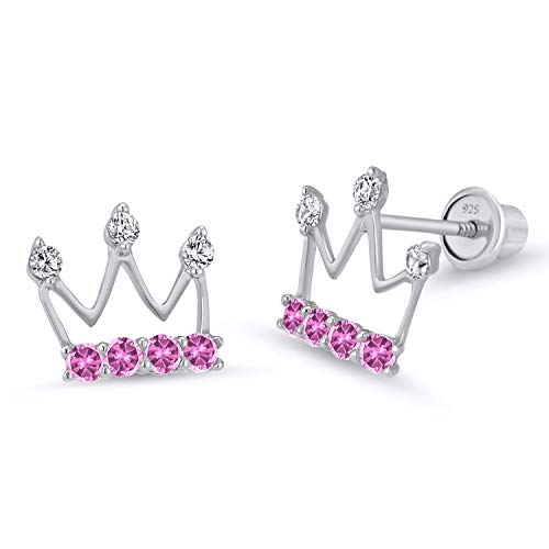 925 Sterling Silver Rhodium Plated Princess Crown Cubic Zirconia Screwback Baby Girls Earrings