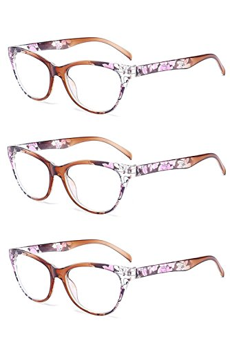 Inlefen 3 Pack Vintage Cat Eye Reading Glasses Flower pattern frame Eyewear for - Moon Reading Half Glasses Vintage