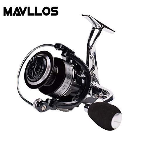 HITSAN INCORPORATION Mavllos Carp Fishing Spinning Reel 3000 13BB Ratio 5.0:1 Two Colors Metal Reel Seat Saltwater Surf Spinning Fishing Reel Coil Color Silver Spool Capacity 4000 Series (Reel Metal Seat)