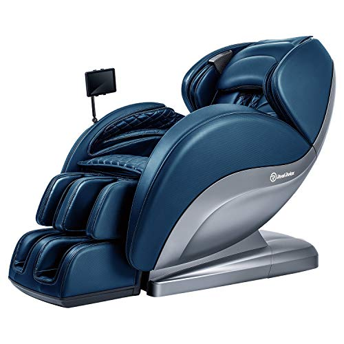 Real Relax Superior Massage Chair Recliner with Pad, Yoga Stretch, 3D Robots Hands Rollers, Blue