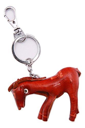 PurseWorld Women's Handmade Leather Horse Keyring (red)