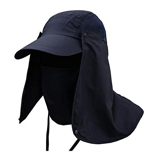 360° UV protection Sun Cap,Dolida Flap Hat Man Women Folding UPF 50+ Sun Cap Adults Removable Neck & Face Flap Cover Cap for Fishing Hiking Garden Work Outdoor Activities Navy Blue