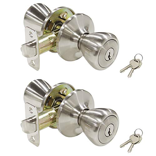2 Pack Keyed Alike Entry Door Knobs Lockset Modern Tulip Style Entrance Interior Knobs with Lock and Key for Bedroom Office, Stain Nickel