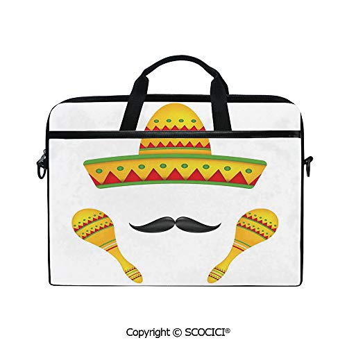 Portable Ultrabook Soft Sleeve Laptop Bag Case Cover Famous Centerpiece Icons Sombrero Moustache Rumba Shaker Mesoamerican Image Compatible with HP Dell Lenovo