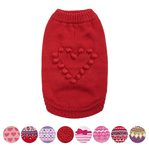 Blueberry Pet 8 Patterns for Love of Pets - Heart Designer Dog Sweater, Back Length 8'', Pack of 1 Clothes for Dogs by Blueberry Pet