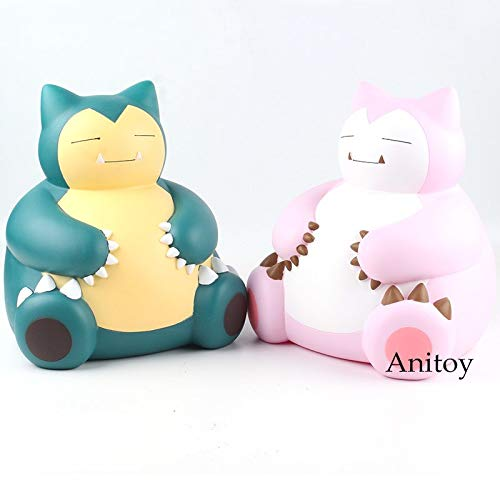 Collectible Model Toy Doll Gift 9.1 inch - Coin Bank - Cartoon Monster Snorlax Piggy Bank Coin Bank PVC Anime Figure (Green) ()