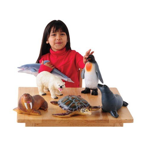 Animal Set Arctic (Constructive Playthings TNZ-85 Soft Touch Sea Life Animals - Set of 6 Realistically Detailed Animal Toys for Kids, Grade: Kindergarten to 3, Age: 19.25