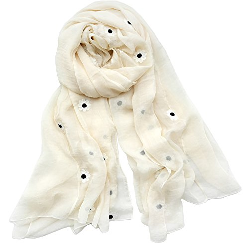 Women's Chiffon Silk Long Scarf, EXQUISITE TXYGAT Lady's Polyester Sunscreen Shawls Beach Wraps Thin Soft Spring Summer (Beige)