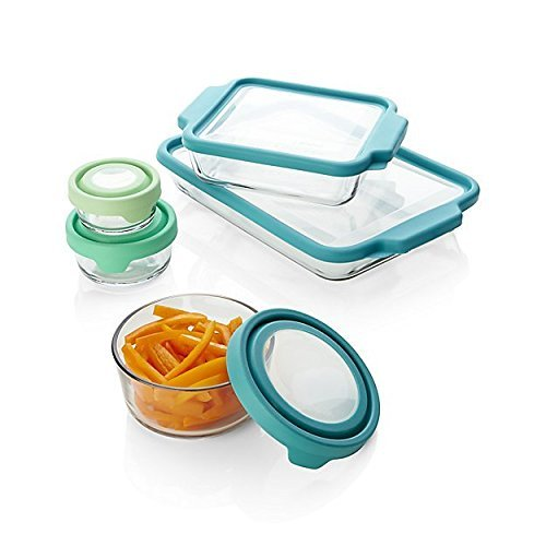 Anchor Hocking TrueFit Bakeware and TrueSeal Glass Food Storage Containers with Lids, Mixed Blue, 10-Piece Set