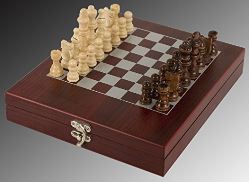 Silk Screened Chess Board - Chess Set, ENGRAVED, Rosewood Portable Case