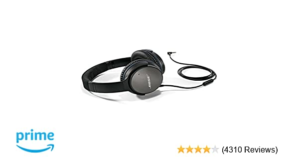 amazon com: bose quietcomfort 25 acoustic noise cancelling headphones for  apple devices - black (wired, 3 5mm): bose: home audio & theater