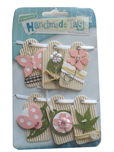 Price comparison product image Anker Handmade Card Toppers Layered Handmade Tags - Beige Butterfly & Flower, 6 Peices